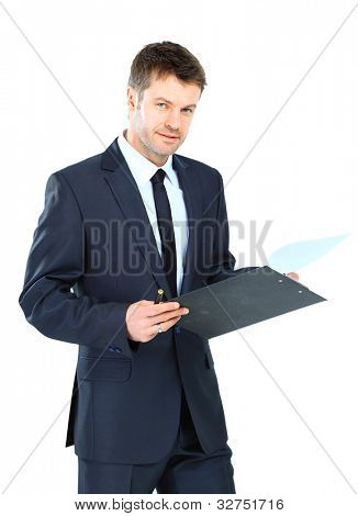 businessman writing on clipboard wear elegant suit and tie isolated over white background