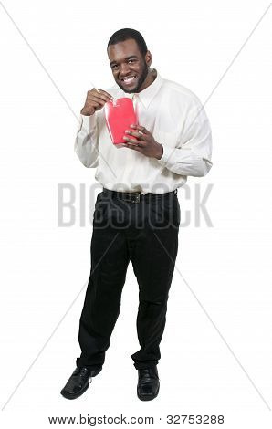 Man Eating Asian Food