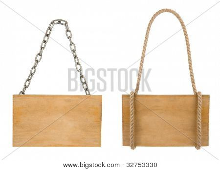 signboard isolated on white background with rope and chain
