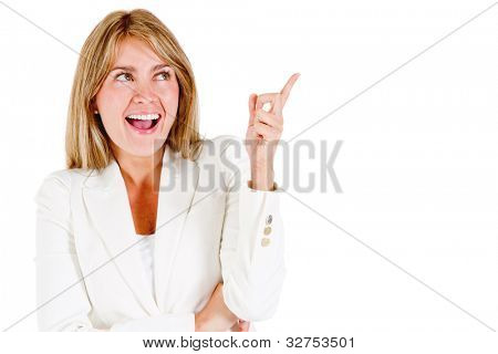 Corporate woman having a business idea - isolated over a white background