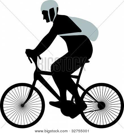 vector silueta de ciclista