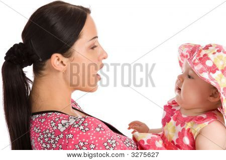A Mother Teaches His Daughter To Speak
