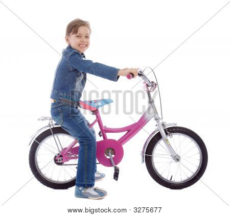 Young Girl Isolated On White Sitting On Her Bike