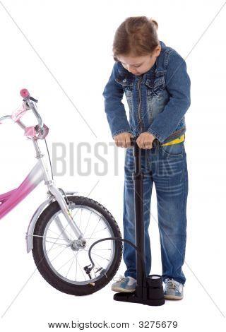 Young Girl Inflate Wheel Her Bike