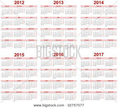 ...2018 (pack 5) Простые векторные календари до 2018 года, которые можно использовать и как календарные сетки для...