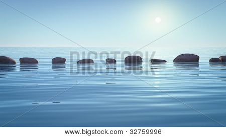 An image with some step stones in the ocean