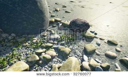 An image of a nice pebbles in water background