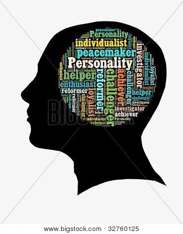Tipo de personalidade em colagem de palavra