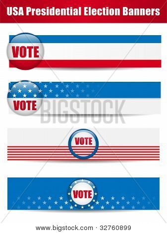 Banner zu stimmen. Satz von vier mit Hintergrund