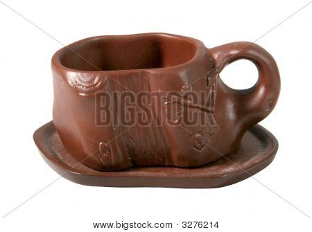 Isolated Clay Cup For Tea