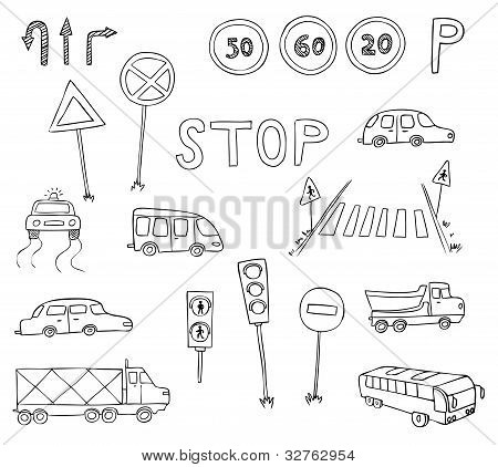 Traffic And Transportation Vector Set
