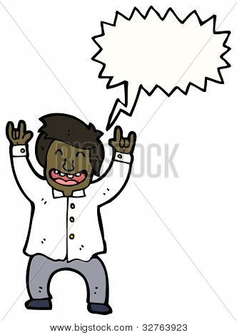 cartoon shouting businessman rocking out