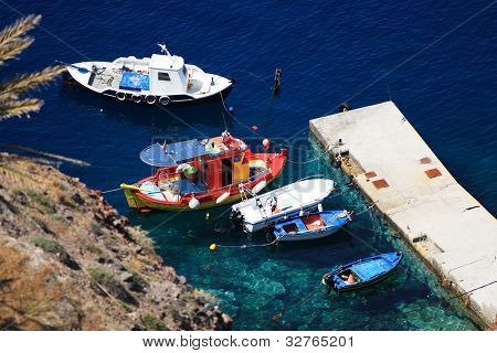 The harbor of Oia Santorini island