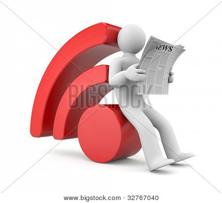 Person reading RSS news. Image contain clipping path