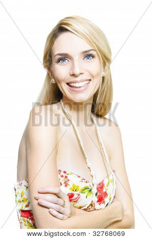 Isolated Studio Pic Of A Happy Young Smiling Woman