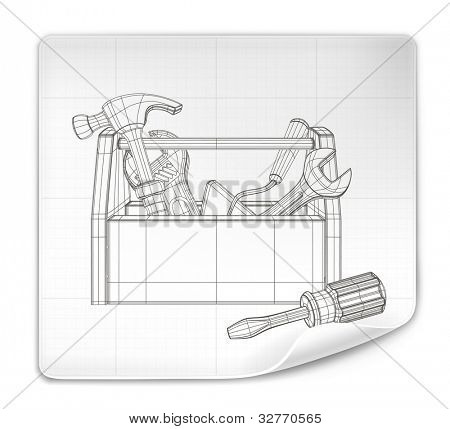 Tool box drawing, vector