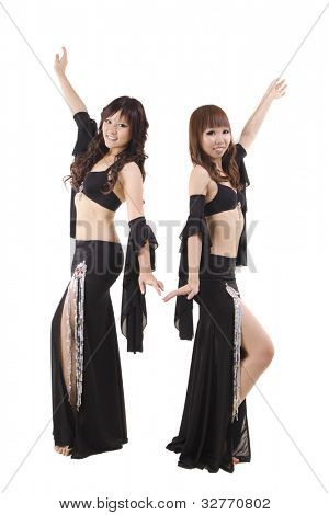 Duet belly dancer posing on white