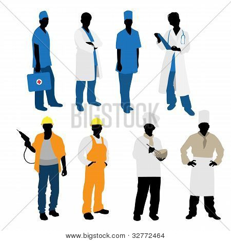 Mens Professions Silhouettes