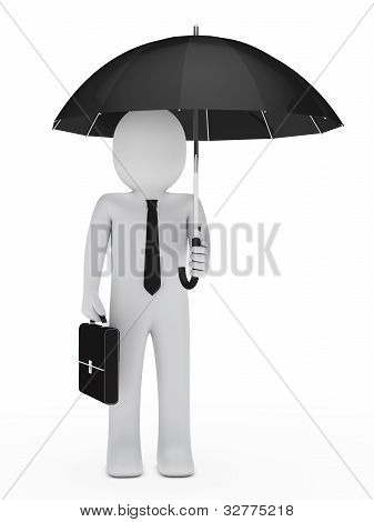 Businessman Hold Black Umbrella
