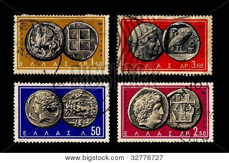 Ancient Greek coins on stamps