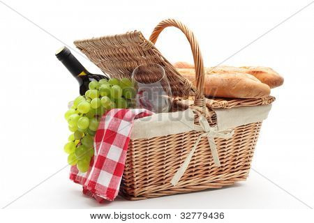picnic basket with fruit bread and wine.