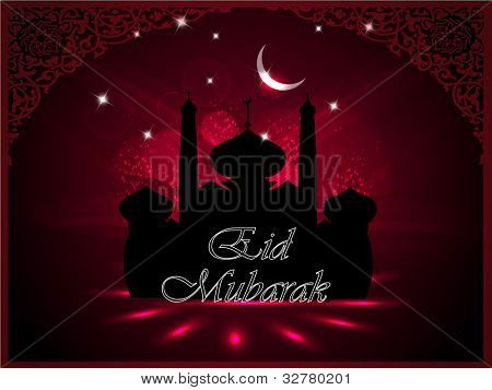 Mosque and Masjid silhouette with moon and Eid Mubarak  text on floral background in maroon color, frame or template. EPS 10. Vector illustration