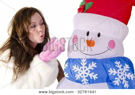 Woman with a snowman