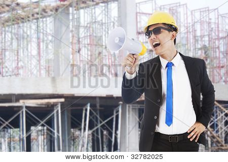 Architect with megaphone