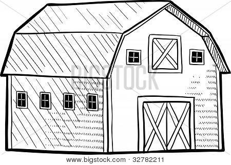 Traditional Dutch barn sketch
