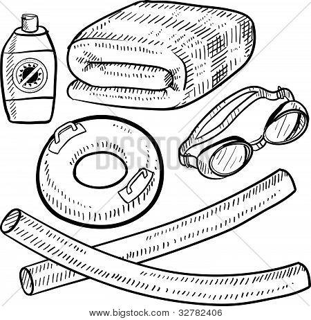 Beach or pool equipment sketch