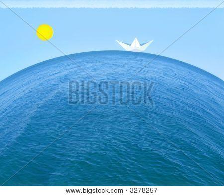 Paper Ship In The Sea