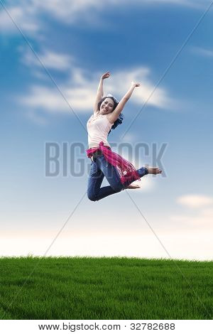 Excited Asian Woman Jumping