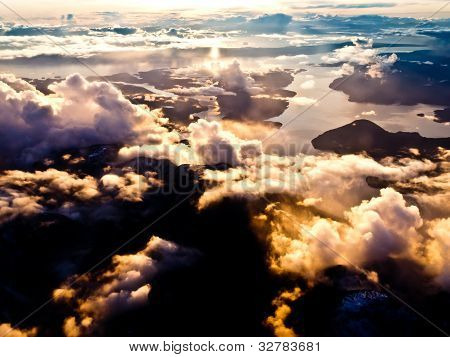 Aerial view of pacific coast of BC, Canada
