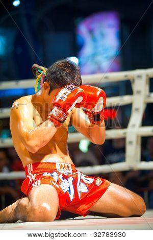 Kneeling Muay Thai Gloves Face
