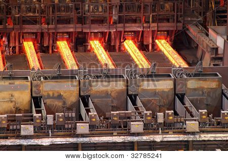 Continuous steel casting machine.