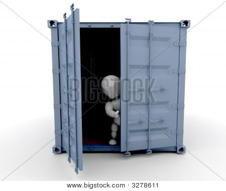 Person Inside Freight Container