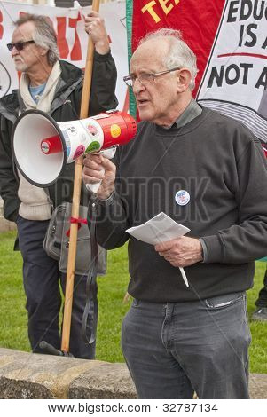 Jeff Barr Speaking At Exeter Cathedral Yard As Part Of The May Day Rally Against The Coalition Gover
