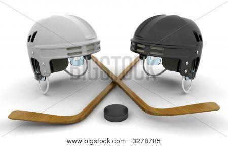 Ice Hockey Helmets, Sticks And Puck