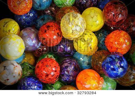 Multi Colored Blown Glass Balls