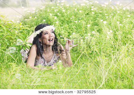Beautiful Woman Blowing Bubble