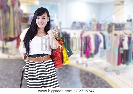 Casual Beautiful Woman With Shopping Bags