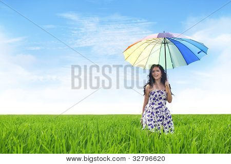 Beautiful Asian Woman On Rice Field