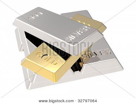 Silver and gold ingots isolated on white. Computer generated 3D photo rendering.