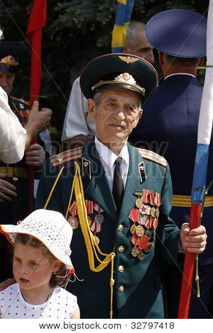 Soviet Army Veteran With Little Girl