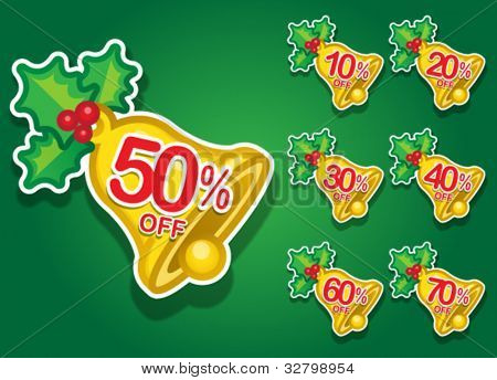 Christmas Bell vector discount stickers
