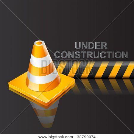 vector under construction sign on dark background