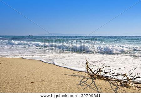 Sunny beach in Greece