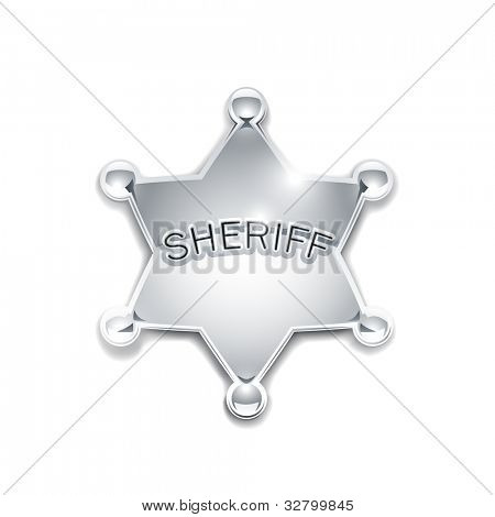 sheriff's metallic badge as star vector illustration isolated on white background EPS10. Transparent objects and opacity masks used for shadows and lights drawing