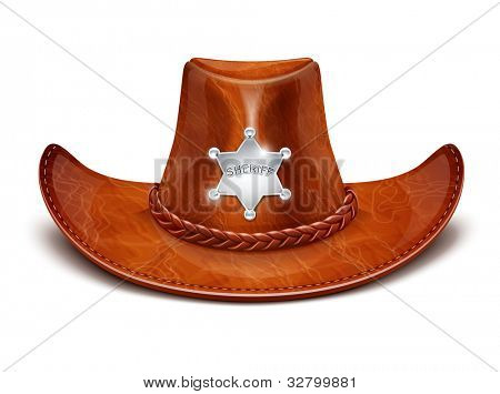 sheriff's leather hat stetson vector illustration isolated on white background EPS10. Transparent objects and opacity masks used for shadows and lights drawing