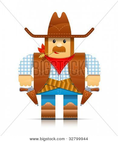 cowboy origami toy vector illustration isolated on white background EPS10. Transparent objects and opacity masks used for shadows and lights drawing